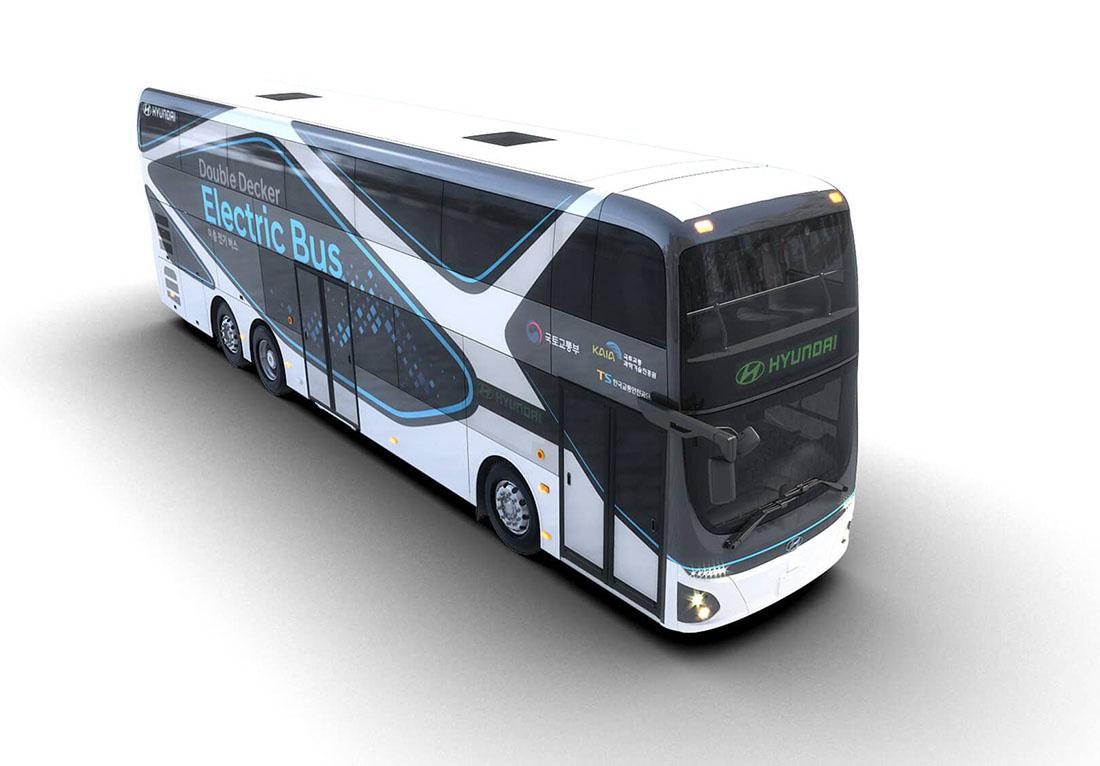 Двухэтажный электробус Hyundai проезжает 300 км на одном заряде